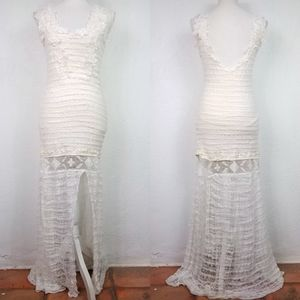 Free People Cream Embroidered Crochet Maxi Dress